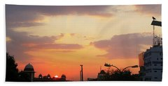 Orange Evening Sky Beach Sheet