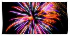 Orange Fireworks Beach Sheet by Yulia Kazansky