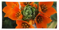 Orange Flower Zoom Beach Towel