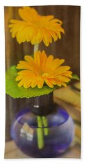 Orange Flowers Blue Vase Beach Sheet