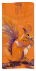 Beach Towel featuring the painting Orange Forest Squirrel by Go Van Kampen