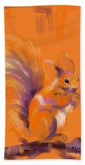 Orange Forest Squirrel Beach Towel