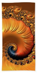 Beach Towel featuring the digital art Orange Fractal Spiral Warm Tones by Matthias Hauser
