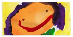 Orange Happy Face Beach Towel