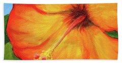 Orange Hibiscus Flower Beach Towel
