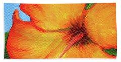 Orange Hibiscus Flower Beach Sheet