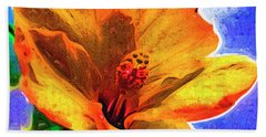 Orange Hibiscus Beach Towel