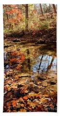 Orange Leaves Beach Towel by Iris Greenwell