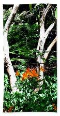 Orange Lilies Beach Towel