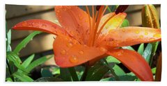 Orange Lilly Beach Towel