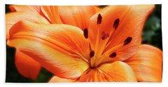 Orange Lily Joy Beach Towel