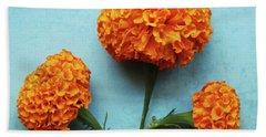 Orange Marigolds- By Linda Woods Beach Towel