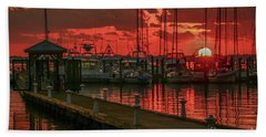 Orange Marina Sunrise Beach Towel by Tom Claud