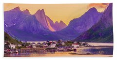 Beach Towel featuring the photograph Orange Night In A Harbour by Dmytro Korol