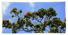 Orange Lehua On A Ranch In Volcano, Hawaii  Beach Sheet
