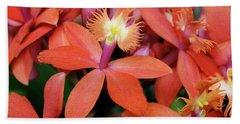Orange Pink Epidendrum Orchid Beach Towel
