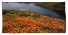 Orange Poppy Fields At Diamond Lake In California Beach Towel