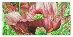Beach Towel featuring the mixed media Orange Poppy Garden by Carol Cavalaris