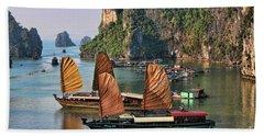 Orange Sails Asian Cruise Vietnam  Beach Towel