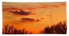 Beach Towel featuring the digital art Orange Sky At Night by Shelli Fitzpatrick