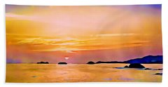 Orange Sky In Ixtapa, Mexico Beach Towel