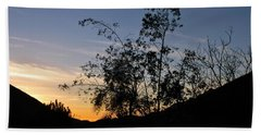 Beach Towel featuring the photograph Orange Sky Nature Silhouette by Matt Harang