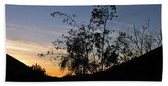 Orange Sky Nature Silhouette Beach Sheet
