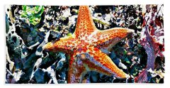 Beach Towel featuring the photograph Orange Starfish by 'REA' Gallery