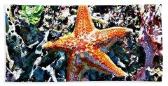 Orange Starfish Beach Towel