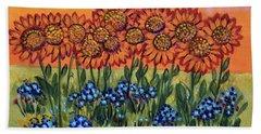 Orange Sunset Flowers Beach Sheet
