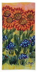 Orange Sunset Flowers Beach Towel