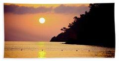 Orange Sunrise Above Sea Beach Towel