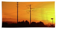 Orange Sunrise Beach Towel