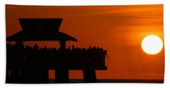 Orange Sunset In Naples Beach Towel