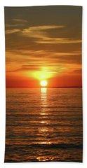 Orange Sunset Lake Superior Beach Towel