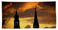 Orange Sunset View In Old Town Riga Beach Towel