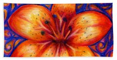 Orange Tiger Lily Drawing Beach Towel