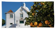 Orange Tree And Church - Castro Marim, Portugal Beach Sheet