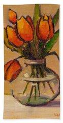 Orange Tulips Beach Towel
