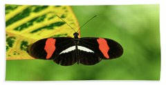 Orange, White And Black Butterfly  Beach Towel