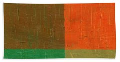 Orange With Brown And Teal Beach Towel by Michelle Calkins