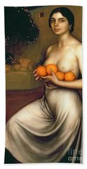 Oranges And Lemons Beach Towel by Julio Romero de Torres