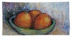 Oranges In Celadon Bowl Beach Sheet