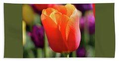 Orange Tulip Square Beach Towel