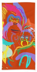 Orangutan Mom And Baby Beach Towel