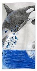 Beach Sheet featuring the drawing Orca by Mayhem Mediums
