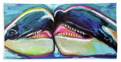 Beach Towel featuring the painting Orca Valentine by Robert Phelps