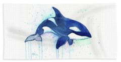 Orca Whale Watercolor Killer Whale Facing Right Beach Towel