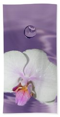White Orchid Water Drop Beach Towel