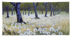 Orchard With Dandelions Beach Towel